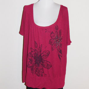 26/28 Lane Bryant Red Floral Studded Soft Knit Top
